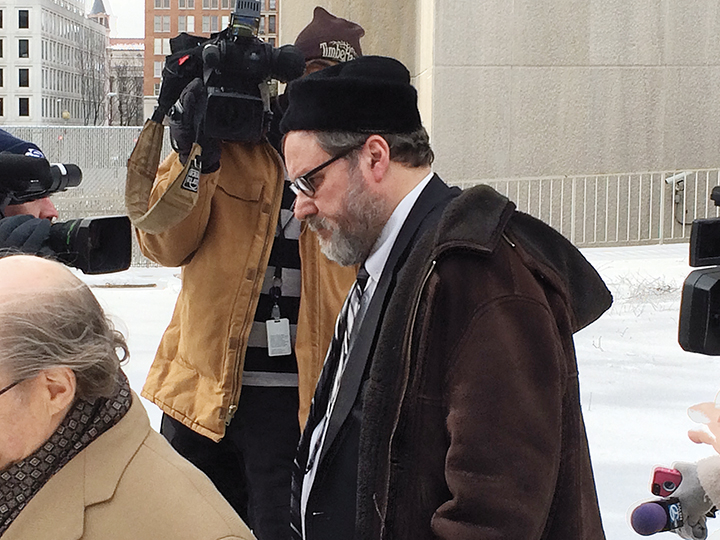 Rabbi Barry Freundel leaves the courthouse in Washington, D.C., after entering his guilty plea on February 19. (Dmitriy Shapiro)