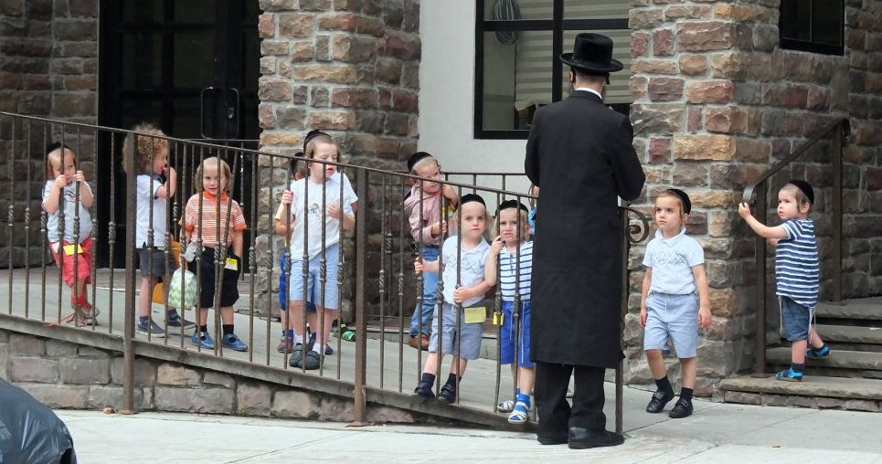 Students from a chasidic preschool in Brooklyn and you probably won't hear a single child speaking English. The Jewish Week