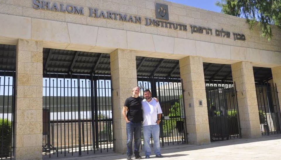 Yossi Klein Halevi and Abdullah Antepli outside the Shalom Hartman Institute in Jerusalem (Courtesy)