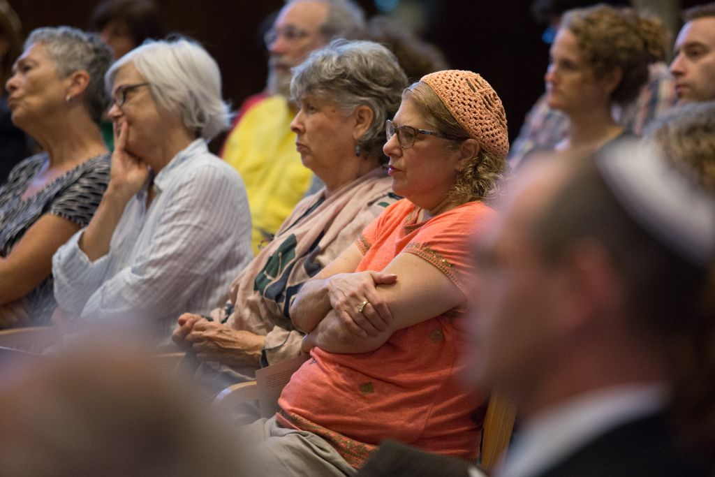 Gathered at Boston's Temple Israel on September 9, 2015, up to 200 community members held a Memorial and Solidarity Gathering for victims of violent Jewish extremist in Israel during the past summer (Elan Kawesch/The Times of Israel)