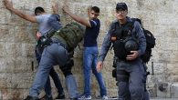 Israeli police search young Palestinians this week at the Damascus Gate in the Old City of Jerusalem. Getty Images