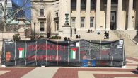 A wall, mocking Israel's security barrier, erected at Columbia University to mark Israel Apartheid Week. Hannah Dreyfus/JW