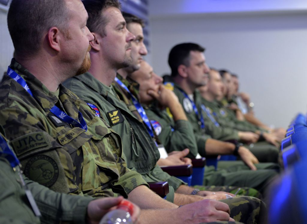 Representatives from multiple countries, including the United States and Greece, listen to a briefing during the 'Blue Flag' exercise in southern Israel on Oct. 26, 2015. (Israel Air Force)