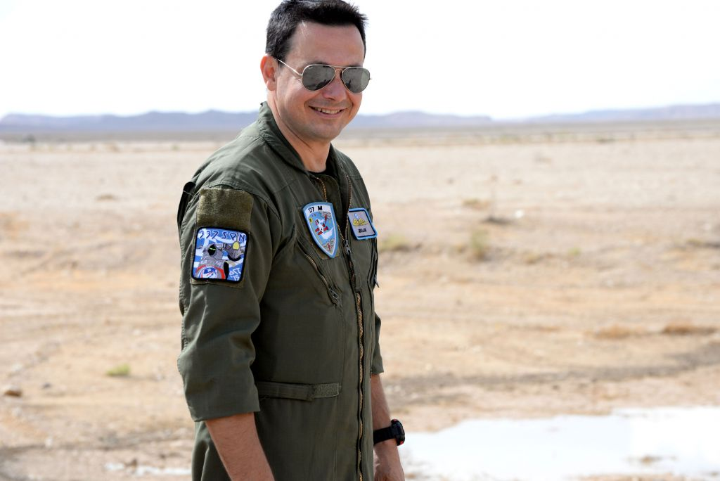 A Hellenic Air Force pilot smiles for the camera during the two-week long 'Blue Flag' exercise at Ovda Airfield near Eilat on Oct. 27, 2015. (Israel Air Force)