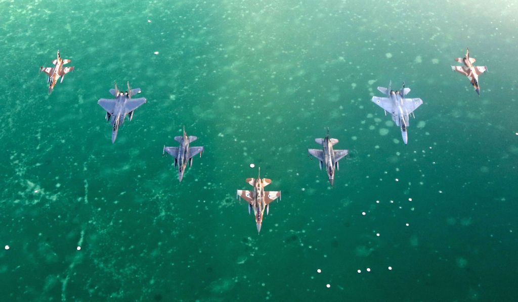 Israeli and foreign fighter jets fly in formation over the Red Sea during the 'Blue Flag' exercise at Ovda Airfield near Eilat on Oct. 27, 2015. (Israel Air Force)