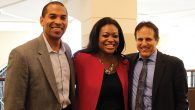 Rabbi Steve Gutow, right, with Michele Jawando of the Center for American Progress, and her husband. Louis. JCPA