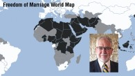 The Hiddush freedom of marriage map ranks countries according to three levels of marriage freedom. Black represents severe restrictions, gray represents partial restrictions, and white represents full heterosexual freedom of marriage. Inset, Rabbi Uri Regev.