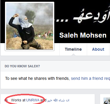Saleh Mohsen, who identifies as an UNRWA employee, changed his profile picture recently to that of a Palestinian rock thrower. (Courtesy UN Watch)