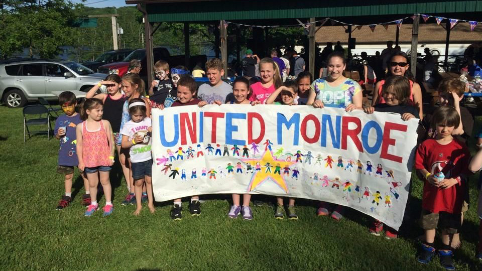 Children protest at a United Monroe demonstration against the Kiryas Joel annexation of some 164 acres of its town. (courtesy)