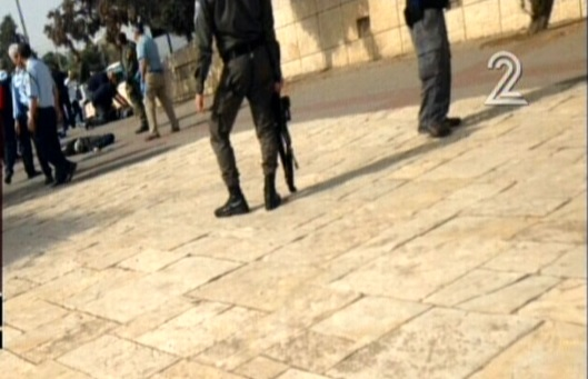 The scene of an attack in Jerusalem, October 12, 2015. (Screen capture: Channel 2)