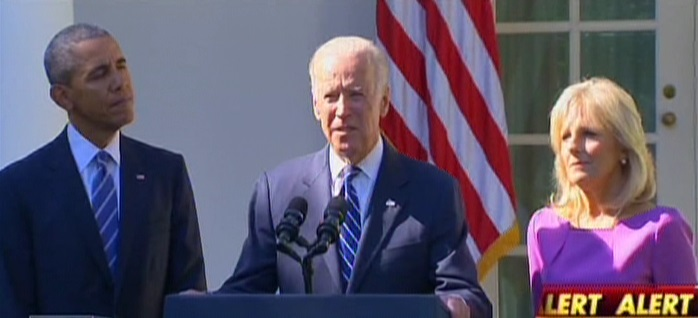 Joe Biden, center, with Barack Obama, left, and Jill Biden in the Rose Garden at the White House on October 21, 2015. (Screen capture: Fox News)