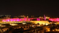 Pink lights promoting breast cancer awareness in Jerusalem's Old City, Oct. 25, 2010. (Kobi Gideon/Flash90)