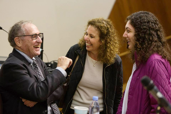 Alan Dershowitz at Princeton University, with Dana Cernea and her daughter Rebecca, then a junior.