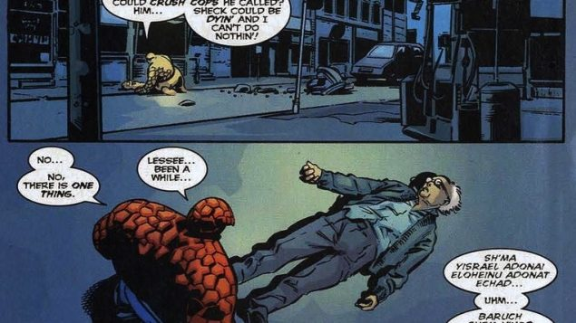 "In these panels from Marvel Comics' iconic ""Fantastic Four,"" the Thing is revealed to be Jewish. Marvel Comics"