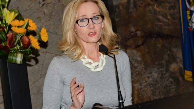 Author J.K. Rowling speaking at the Empire State Building during a lighting ceremony to mark the launch of her non-profit. JTA