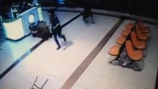 The attack by a Bedouin-Israeli on the Beersheba bus station is captured on a surveillance camera, Oct. 18, 2015. JTA
