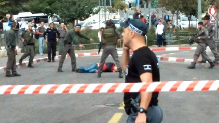 Screenshot from Channel 2 of the site of the stabbing attack in Jerusalem on October 30, 2015.