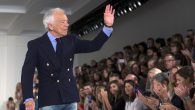 Designer Ralph Lauren greets the crowd after presenting his spring/summer 2016 collection during New York Fashion Week. RNS