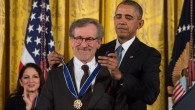 US President Barack Obama presents the Presidential Medal of Freedom to movie director Steven Spielberg at the White House, Washington, DC, November 24, 2015. (AFP/NICHOLAS KAMM)