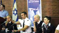 El Al flight attendant Kai Elias (in white shirt) and fellow members of the airline's Ambassadors program at Rutgers University.