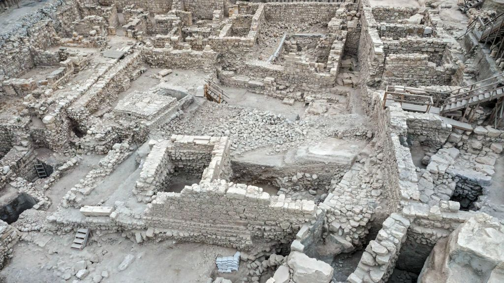 Remains of the Acra citadel and tower in the City of David in Jerusalem. (Assaf Peretz/courtesy of the Israel Antiquities Authority)