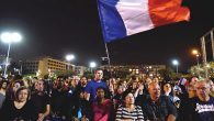 Hundreds of Israelis attending a rally Saturday night at Rabin Square in Tel Aviv in solidarity with Paris. JTA