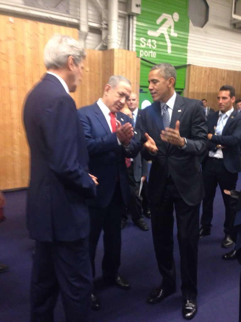 Prime Minister Benjamin Netanyahu meets with US President Barack Obama and Secretary of State John Kerry on the sidelines of a UN climate summit in Paris on Monday, November 30, 2015