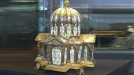 This 12th-century domed reliquary shaped like a church and made of gold and silver is part of the Guelph Treasure.