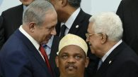 Israeli Prime Minister Benjamin Netanyahu, left, shaking hands with Palestinian Authority President Mahmoud Abbas. JTA