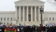 Demonstrators gathered outside the Supreme Court. RNS