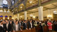 A wedding at the Synagogue des Tournelles in Paris on Nov. 15, 2015, two days after a wave of terror gripped the city. JTA