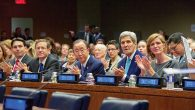 "Danny Danon, Isaac Herzog, Ban Ki-moon, John Kerry and Samantha Power at U.N.'s ""Battle for Zionism"" event last month."