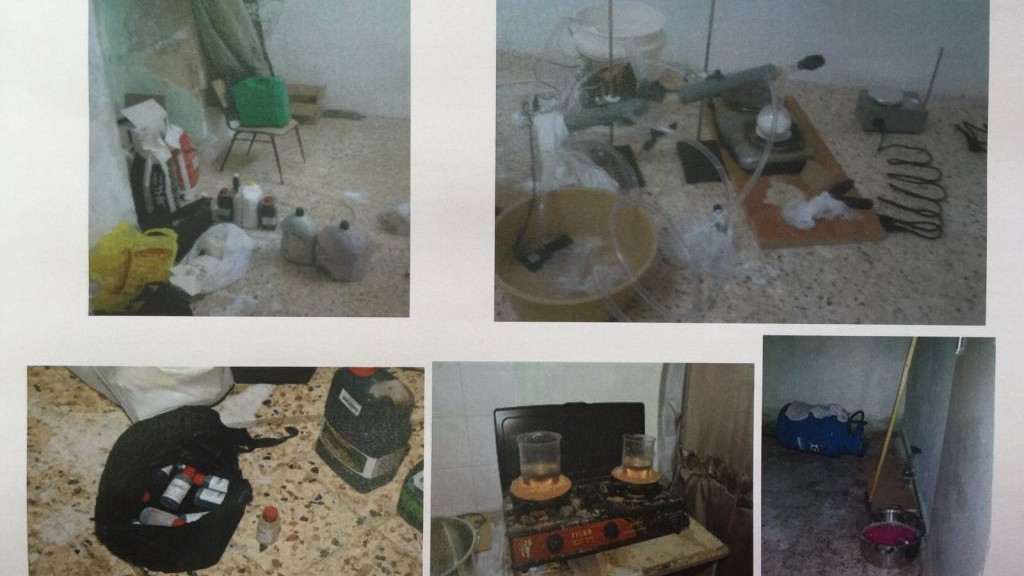 The Shin Bet security service reveals photographs of a laboratory allegedly used by Hamas operatives to create explosive devices for use in suicide bombings and other terror attacks in the West Bank on December 23, 2015. (Courtesy)
