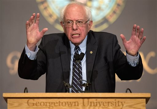 Democratic presidential candidate Sen. Bernie Sanders speaks at Georgetown University in Washington on November 19, 2015. (AP /Carolyn Kaster)