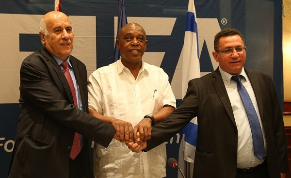 FIFA Monitoring Committee Israel-Palestine chairman, Tokyo Sexwale (centre) has met with Israeli and Palestinian FA representatives on several occasions to try and find a resolution to the ongoing row between the two countries.  (Picture from 2015)