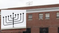 Buddy Unger's handiwork still crowns the Jewish Center of Teaneck. Inset, a closeup of the chanukiyah.