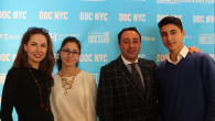 "Inna Fershteyn, left, her husband Alexander Ayzidor, twins Peri and Ari at the premiere of ""Tested."" Rivka Hia/JW"