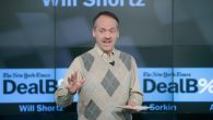 The New York Times Crossword Editor Will Shortz speaking onstage during The New York Times DealBook Conference. JTA