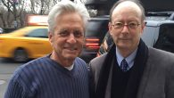 Speaking out: Actor Michael Douglas in front of his Manhattan apartment with editor Gary Rosenblatt.