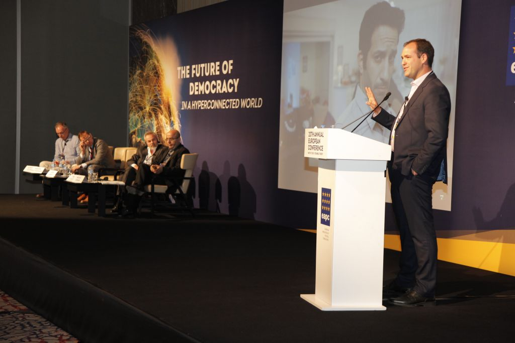 Aron Shaviv, an international political strategist, speaks at the European Association of Political Consultants (EAPC) 20th Annual Conference, Istanbul, May 2015. (courtesy)