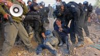 Young settlers clash with Israeli police during evacuation of a disputed Hebron house on Dec. 4, 2008. JTA