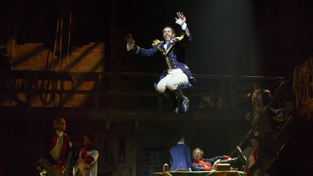 Daveed Diggs as the Marquis de Lafayette performing 'Guns and Ships.' (Hamilton Broadway Photos by Joan Marcus)