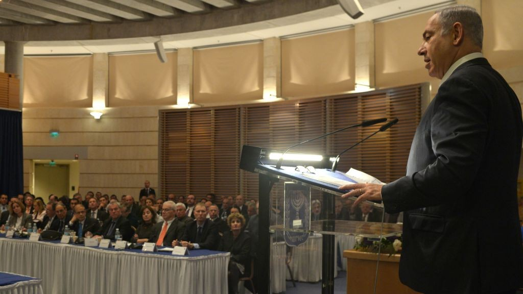Prime Minister Benjamin Netanyahu speaks at the Conference for representatives and ambassadors of Israel abroad, at the Foreign Ministry in Jerusalem, on January 31, 2016. (Photo by Kobi Gideon / GPO)