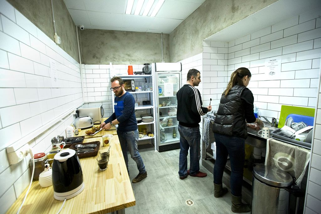 The communal kitchen at the Little Tel-Aviv Hostel, which offers a variety of options for preparing and eating your own food (Courtesy Little Tel-Aviv)