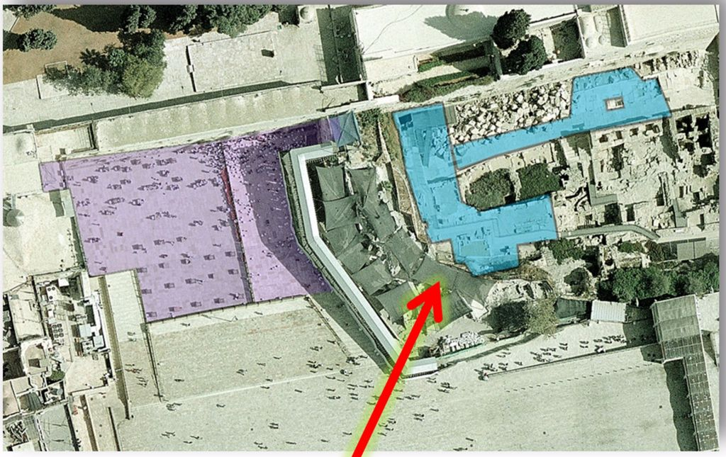 The now-frozen plan for the pluralistic section, shaded in blue, was for it to double in size to nearly 10,000 sq. ft (929 sq m). The Orthodox section, shaded in purple, takes up some 21,500 sq. ft. (nearly 2,000 sq. m.). The area in back of the Orthodox section is meant for national ceremonies. (JTA)