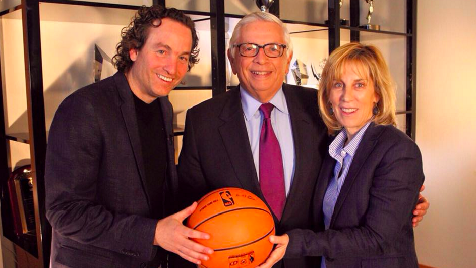 "Nancy Spielberg (right) with former NBA commissioner David Stern and filmmaker Danny Menkin pose for one of her latest films, ""On the Map,"" about the 1977 basketball playoff between Israel and Russia (Courtesy Nancy Spielberg)"