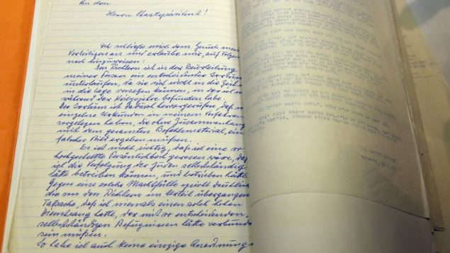 Shown on January 27, 2016 the first page of a decades-old handwritten plea from Nazi war criminal Adolf Eichmann. Getty Images