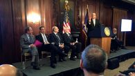 Israel Consul General Ido Ahroni (speaking), with, l-r, Mort Zuckerman, Gov. Cuomo and university officials. Amy Sara Clark/JW