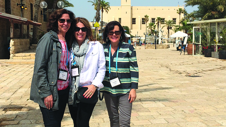 Jayne Petak, Donna Kissler, and Leslie Smith stand in Old Jaffa during a recent federation women's trip to Israel