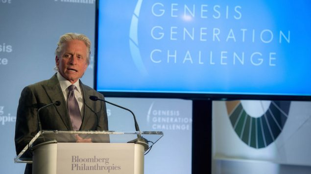 Michael Douglas speaking at the announcement of the Genesis Generation Challenge winners. JTA